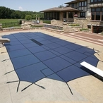 Arctic Armor - Ultralight Solid Safety Cover 25' x 45' Rectangle with Center End Step , Blue - 20 yr Warranty - 313576
