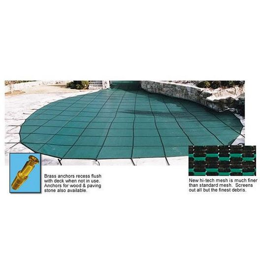 Arctic Armor - 16' x 32' Rectangle Safety Cover with Center End Step, Blue, 20-Year Mesh - 316327