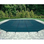 Ultralight Solid 16' x 40' Rectangle Safety Cover with Center Mesh Drain and 4' x 8' Center End Step, Gree