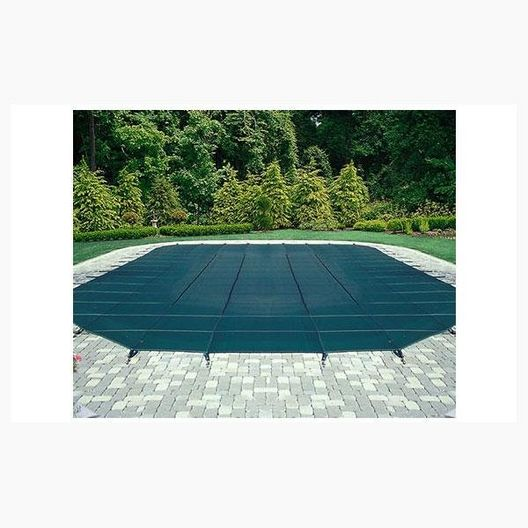 16' x 32' Rectangle Safety Cover with Left Side Step, Green 12-Year Mesh