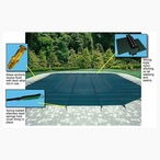 20' x 44' Rectangle Safety Cover with Right Side Step, Green 12-Year Mesh