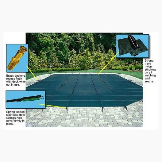 15' x 30' Rectangle Mesh Safety Cover with Right End Step, Gray, 12- Year Warranty