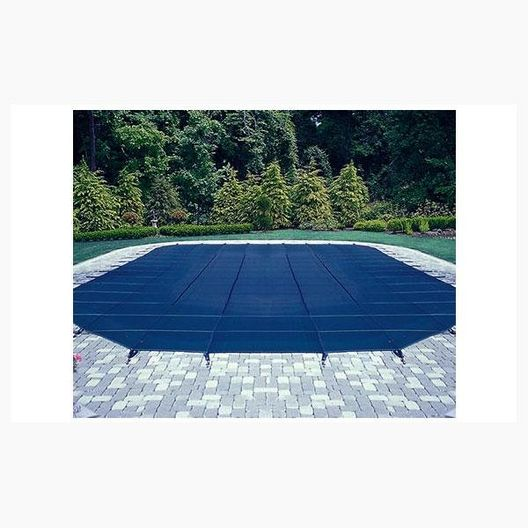 16' x 36' Rectangle Mesh Safety Cover with Right End Step, Gray, 12- Year Warranty