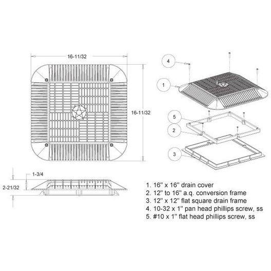 Aquastar  Retrofit Square Anti-Entrapment Suction Outlet Cover Frame and Retro-Adapter Frame Black