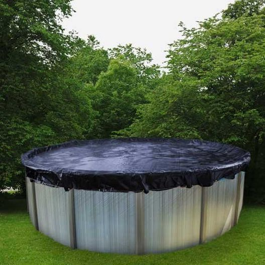 Deluxe 33' Round Winter Pool Cover, 10 Year Warranty, Blue