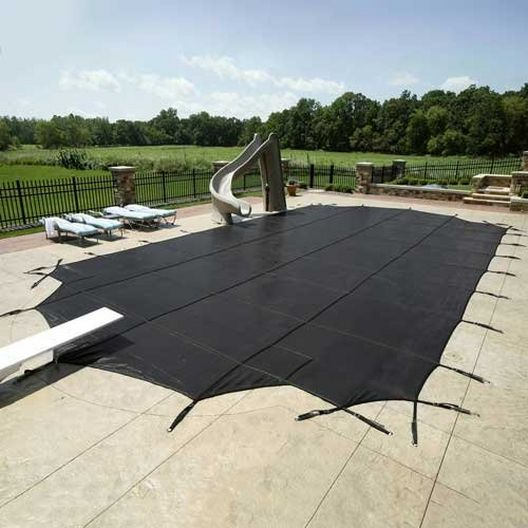14' x 28' Commercial Mesh Safety Cover with Center End Step - Black - 30 yr Warranty