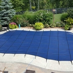 Leslie's - Pro SunBlocker Mesh 20' x 40' Rectangle Safety Cover with 4' x 8' Right Side Step, Blue - 360863