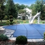 Pro SunBlocker Mesh 20' x 40' Rectangle Safety Cover with 4' x 8' Right Side Step, Blue