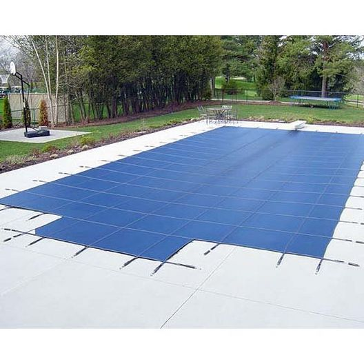 Polarshield - Deck Lock 20' x 40' Rectangle Mesh Safety Cover with Center End Step, Blue - 18 Year Warranty - 360897