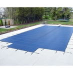 Deck Lock 20' x 40' Rectangle Mesh Safety Cover with Center End Step, Green - 18 Year Warranty