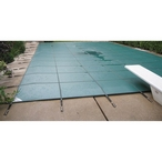Ultralight Solid 18' x 36' Rectangle Safety Cover with Center Mesh Drain and 4' x 8' Center End Step, Green, 10- Year Warranty