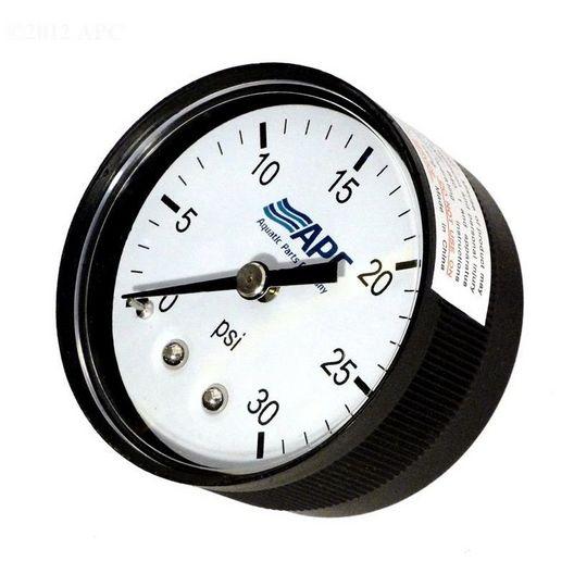 Pressure Gauge, poly case, 1/4 inch tap, 0-30#, back mount, 2 inch face