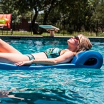 """8021530 Sunsation Pool Float in Metallic Blue, 6' Length X 1-3/4"""" Thick"""