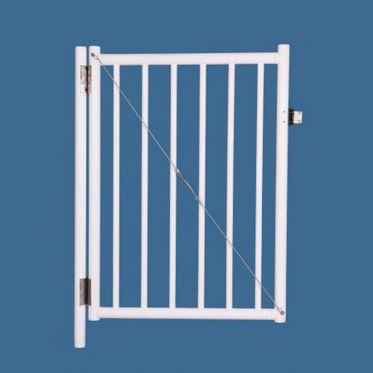 """48"""" x 36"""" Self Closing Gate with 54"""" Plunger Latch, White"""