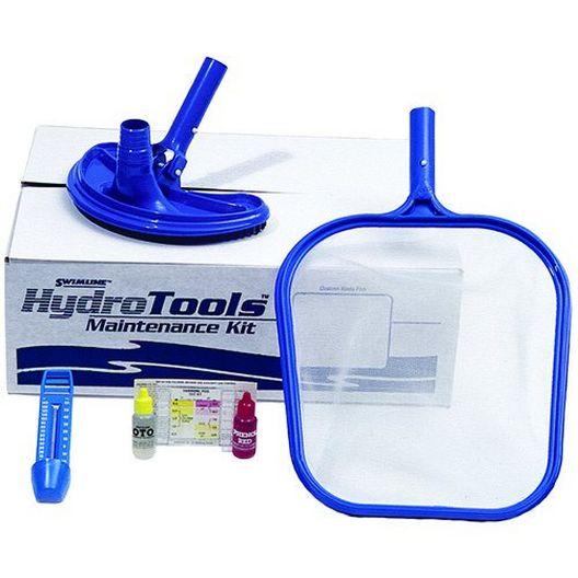 Swimline - Basic Maintenance Kit - Vac Head, Dual Test Kit, Leaf Skimmer and Thermometer - 367664