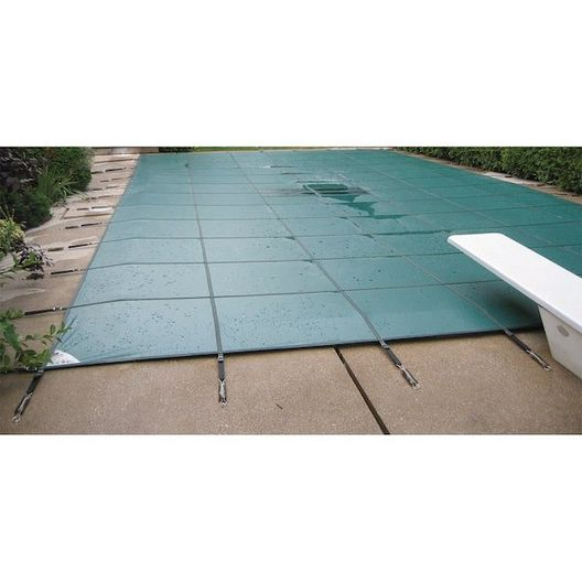 Ultralight Solid 15' x 30' Rectangle Safety Cover with Center Mesh Drain and 4' x 8' Center End Step, Green