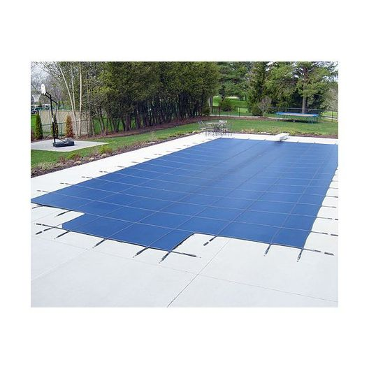 Deck Lock 16' x 40' Rectangle Mesh Safety Cover with Center End Step, Blue - 18 Year Warranty