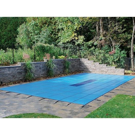 Ultralight  Safety Cover with Center Mesh Drain 16' x 38' Rectangle, Blue, 10-Year Warranty