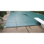 Ultralight Solid 14' x 28' Rectangle Safety Cover with Center Mesh Drain and 4' x 8' Center End Step, Green