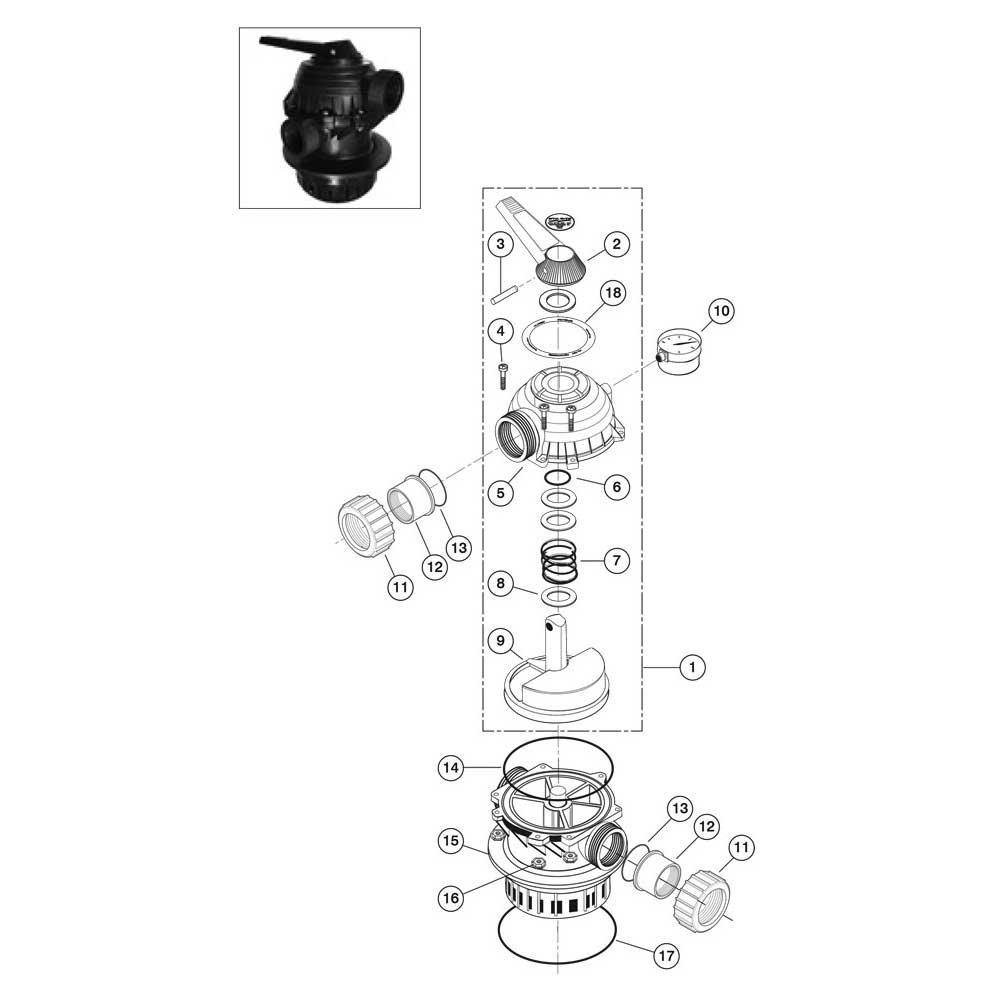 "Sta-Rite Backwash Valve 1-1/2"" Multi-Port Top Mount: WC112 Series image"