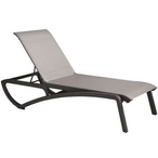 Chaise Lounge Solid Gray Sling on Volcanic Black Frame