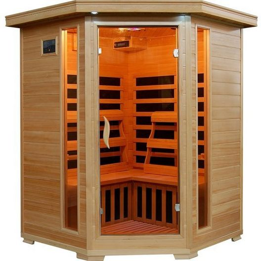 3-Person Hemlock Corner Infrared Sauna with Carbon Heaters - 381690