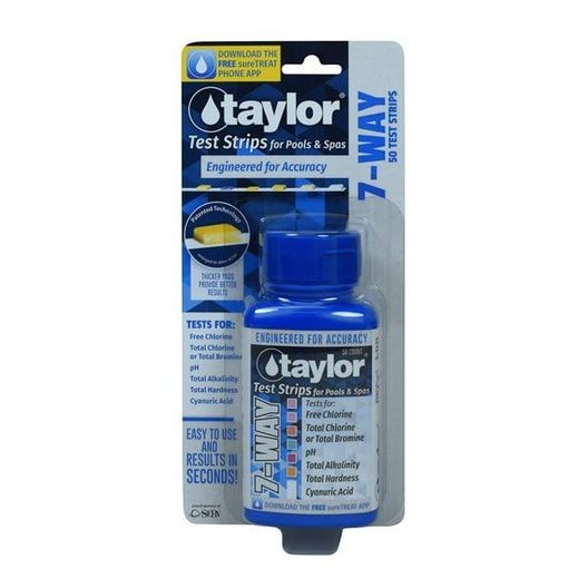7-Way Test Strips for Free Chlorine, Total Chlorine/Bromine, pH, Alkalinity, Hardness, CYA (50 Test Strips)
