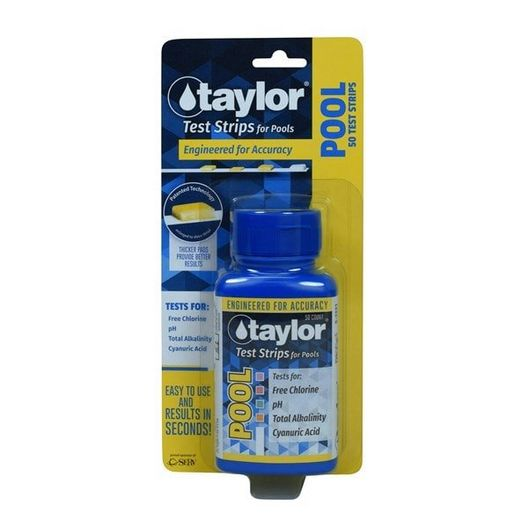 Taylor Technologies - Pool Test Strips for Free Chlorine, pH, Alkalinity & CYA (50 Test Strips) - 384033