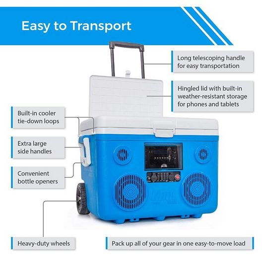 Sondpex - KoolMax 40 Quart Wheeled Cooler Bluetooth Audio and Charging Station - Blue - 386784