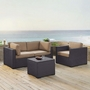 Biscayne 4 Piece Wicker Set with Mist Cushions - Two Corner Chairs, Arm Chair & Coffee Table
