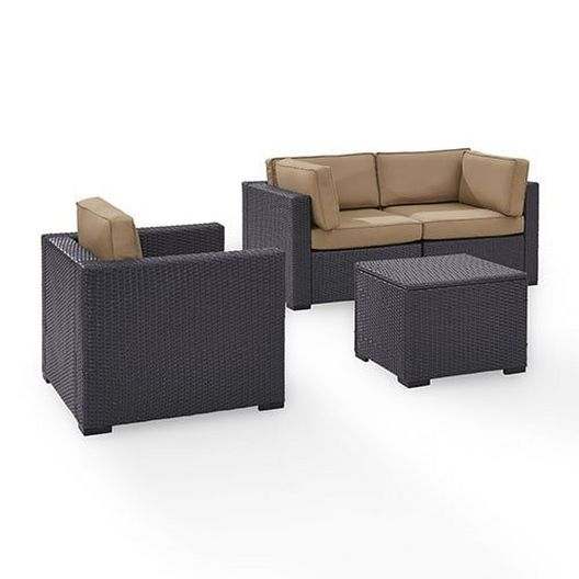 Crosley - Biscayne 4 Piece Wicker Set with Mist Cushions - Two Corner Chairs, Arm Chair & Coffee Table - 452080