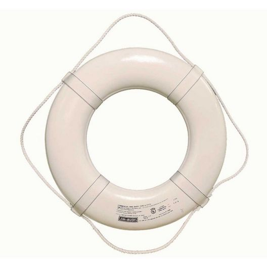 19 Inch USCG Life Ring - White