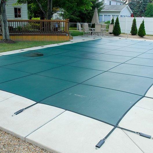 GLI  Original Mesh 14 x 28 Rectangle Inground Pool Safety Cover Green 12 Yr Warranty
