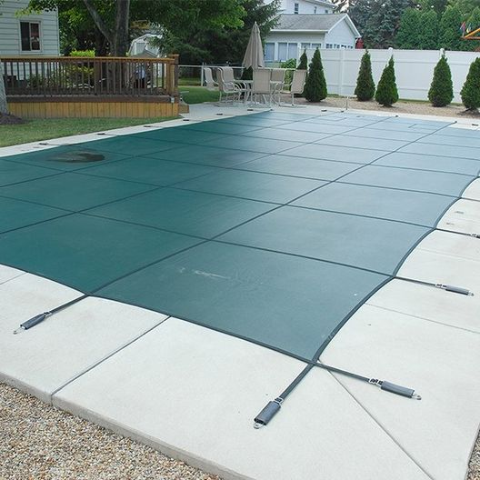 16 x 32 Rectangle Mesh Safety Cover with 4 x 8 Center Step