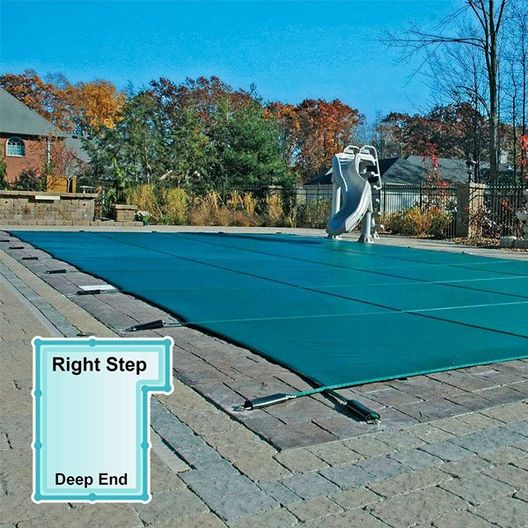 In The Swim Mesh Safety Cover 16x32 ft Rectangle with Right Step