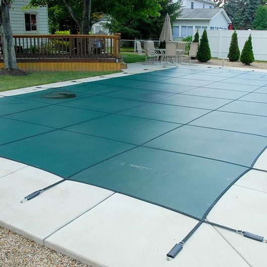 Gli - Mesh 12' ft x 24' ft Rectangle Inground Pool Safety Cover; Green, 12 Yr Warranty - 400572