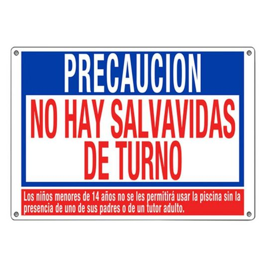 No Lifeguard Warning Sign (Spanish Language)