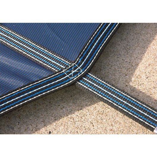 Aqua Master 16 x 32 Blue Solid Safety Cover - Rectangle with Center Step