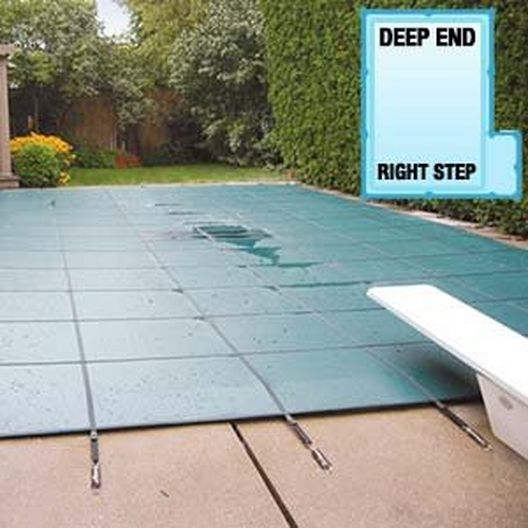 Aqua Master 16 x 32 Blue Solid Safety Cover - Rectangle with Right Step