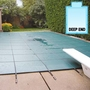 Aqua Master 18 x 36 Solid Safety Cover - Rectangle with Center End Step Green