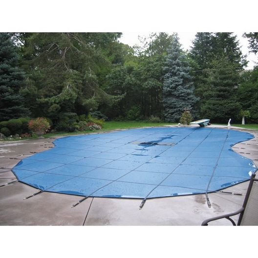 Aqua Master 20 x 40 Solid Safety Cover - Rectangle with Center Step Blue