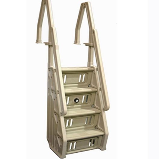 Deluxe 24 In. Taupe Above Ground Pool Ladder for Decks
