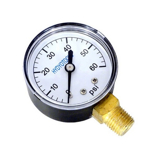 Pressure Gauge - 2 in. - 0-60 psi, 1/4 in. Bottom Mount - Plastic Case