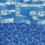 Overlap 16' Round 48/52 in. Depth Blue Stone Above Ground Pool Liner, 20 Mil