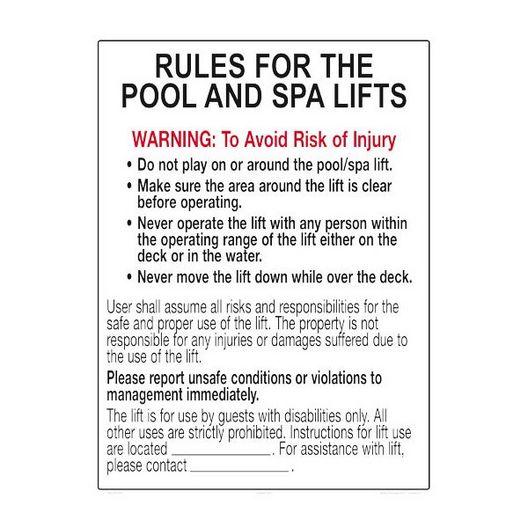 Pool Lift Rules Sign - 401171