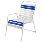 Classic Blue/White Vinyl Strap Dining Chair