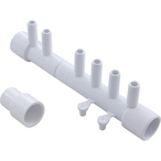 Manifold, 1/2 inch S x 1/2 inch S x (7) 3/8 inch SB (w/ (2) 3/8 inch plugs and 1/2 inch extender)