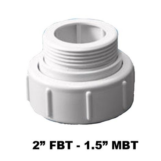 Pump Union Assembly, 2 inch Female B Thread (3 inch OD) x 1-1/2 inch Male B Thread (2-1/2 inch OD), w/ o-ring
