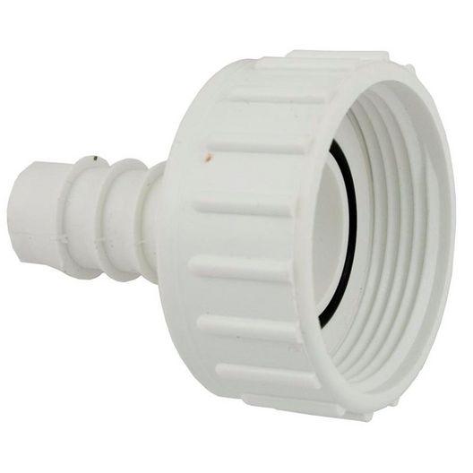 Waterway - Pump Union Assembly, 1 inch Female B Thread (2 inch OD) x 3/4 inch Ribbed Barb, w/ o-ring - 404065