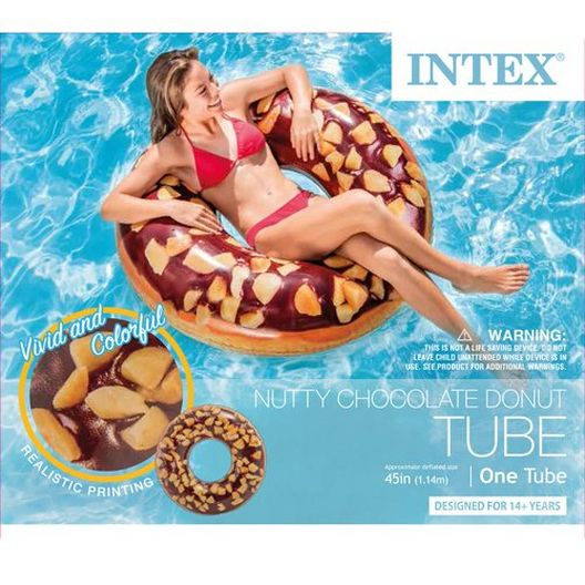 Intex - Nutty Chocolate Donut Inflatable Pool Float - 404441